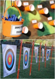 Camo Birthday Party Ideas Nerf party and station and targets. Camouflage Camo Birthday Party Ideas hunting, nerf, call of dut Army Birthday Parties, 7th Birthday Party Ideas, Army's Birthday, Hunting Birthday, Outdoor Birthday, Ideas Party, 5th Birthday Ideas For Boys, Hunting Party, Camouflage Party