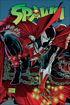 SPAWN    Alan Moore fue contratado por   Todd McFarlane para que escribiera el guión del número 8 de Spawn, en 1993. En ese primer cómic del antihéroe, creó el Infierno, con 8 dimensiones, y definió por primera vez lo que era un Spawn. Desde entonces, colaboró en más ocasiones con el personaje de McFarlane, en un crossover Spawn / WildC.A.T.S, y en una miniserie sobre el peor villano de Spawn: Violator