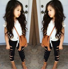 Stylish little girl. Little girls fashion