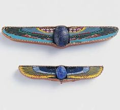 Winged Scarabs - Glass, Mosaic Glass, and Lapis Lazuli. Egypt. Circa 1st Century B.C. to 1st Century A.D.