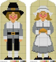 Pilgrim Boy and Girl - Pilgrim Needlepoint Pattern. Or cross stitch.
