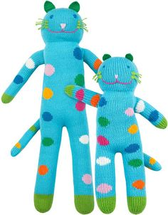 """Love these poppy colored knit kitties!! Many more styles and animals to choose from- none are cheap though. MINI 12"""" $44, REGULAR 22"""" $56, GIANT 3' $156  Knit Dolls, Stuffed Dolls, Mermaid Toys   blabla kids"""