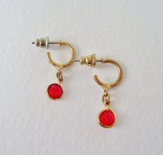 Vintage 80s Traditional Cottage Chic Goldtone Bezel Set Ruby Rhinestone Dangle Hoop Earrings by ThePaisleyUnicorn, $4.00