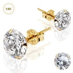 Boxed 14kt Solid Gold 6mm Swarovski crystal Stud Earrings For pierced ears with butterfly backs ** Find out more at the image link. #Earrings