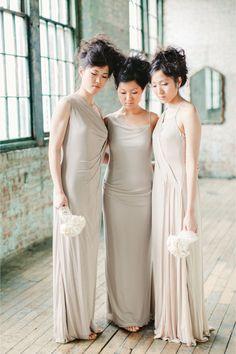 Ivory and grey bridesmaids dresses   Amanda K Photography   http://burnettsboards.com/2013/11/fashion-designer-weds/