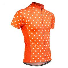 High Visibility Polka Dot Mens Cycling Jersey Orange / Xs