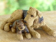Airedale Terrier Ceramic Dog Sculpture 'Sisters' by MudPups www.wendyhodgson.net