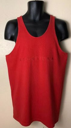 f75dc3a22b68 GUESS by Georges Marciano Red Basketball Jersey Tank Vintage 80s 90s GUESS  USA