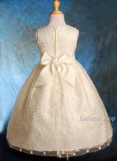 Ivory Flower Girls Wedding Pageant Party Formal Occasion Dress SZ 4 5 FG053   eBay