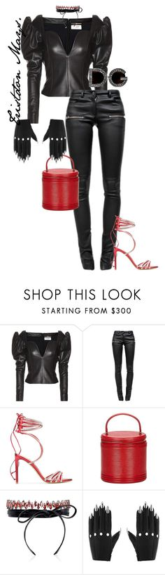 """Leather Pussycat."" by monroestyles ❤ liked on Polyvore featuring Yves Saint Laurent, Anine Bing, Alexandre Vauthier, Louis Vuitton, Fallon and Majesty Black"