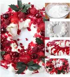 Berry and Pomegranate Pavlova with Raspberry Coulis Christmas Cooking, Christmas Desserts, Christmas Treats, Christmas Recipes, Christmas Hacks, Christmas Crackers, Xmas Food, Christmas Foods, Christmas Appetizers