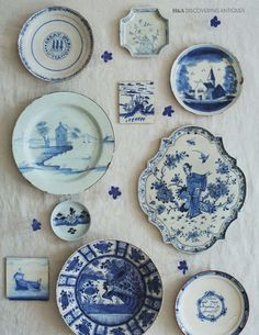 Chinoiserie Blue & White Magic! Stunning Wall Collection of Blue and White Plates and Saucers. | rickysturn/home-styling