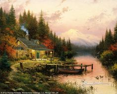 "The End Of A Perfect Day [1993] © Thomas Kinkade ""Paintings like this express my growing appreciation for the real beauty of nature untamed. This rustic stone cabin is nestled in a glorious setting a secluded jewel of a lake framed by distant mountains. But my wild places show the charming and comfortable signs of a very human presence. A fireplace warms the living room, illuminating the overstuffed chair and mounted trophy animals glimpsed through open windows."""