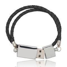 Black USB Double Leather Band Bracelet