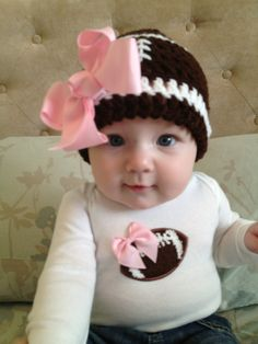 Pink football outfit for baby girls - football onesie w/ pink bow and matching crochet football beanie hat