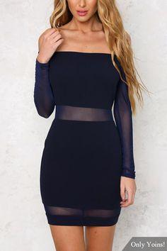 Off Shoulder Sheer Mesh Mini Dress with Long Sleeves