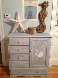 Vintage Wardrobe Dresser Refinished in Slate Blue Milk Paint White Whale Perfect For Nautical Nursery on Etsy