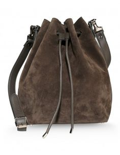 Proenza Schouler Gray Suede Bucket Bag - Shop ways to take your boho look from summer to fall: http://shop.harpersbazaar.com/new-arrivals/trending-now http://www.pinterest.com/womensfashion9/