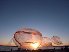Tomas Saraceno's floating installations are supplied by solar energy and made with original materials such as aerogel, an extremely fine film, specially conceived and patented by the artist. He's an architect by trade and it shows.