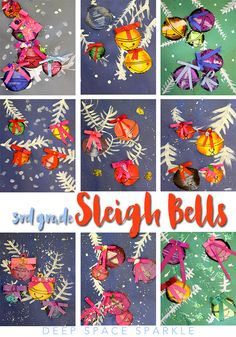 Draw, color and paint pretty sleigh bells. Holiday art project from Deep Space Sparkle