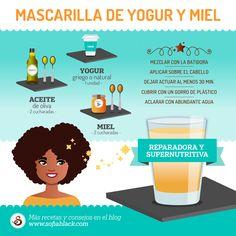 Mascarilla casera reparadora y supernutritiva de yogur, miel y aceite de oliva. ~ Receta para un cabello natural saludable #DIY. Más consejos y trucos en el blog SofiaBlack.com