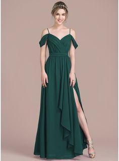 A-Line/Princess V-neck Floor-Length Chiffon Prom Dress With Bow(s) Split Front Cascading Ruffles