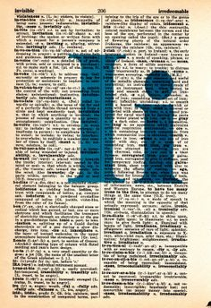 Repurposed Dictionary Art...I by SimpleeSaid on Etsy, $4.50
