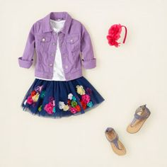 Girls flirty flowers skirt and purple denim jacket outfit from @The Children's Place #PampersPlayDate