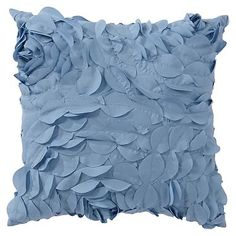 Pretty Petals Pillow Cover, 14 x 14, Dusty Blue