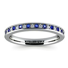 Diamond & Sapphire Wedding Ring in White Gold - yes!