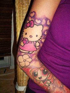 Cute Cartoon Hello Kitty Tattoo