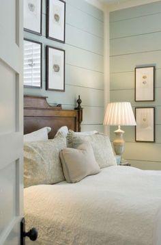 Beautiful guest bedroom in Sherwin Williams Watery #watery #beachtheme