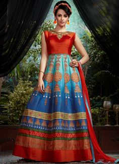 1018e06457a0bd Red Blue Embroidery Work Banglori Silk Net Designer Long Printed Gown Long  Gown Design