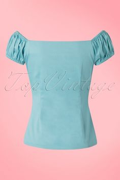 Collectif Clothing Dolores Top Plain Blue 20634 20161201 0003w