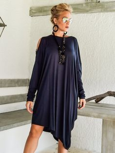 Blue Navy Asymmetric Dress Blouse Tunic / Plus от SynthiaCouture