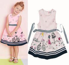 Find More Dresses Information about 2016 Elegant summer style girls dress Pink bicycle design print Sleeveless Girl clothing White Princess Party Dress Kids Clothes,High Quality clothes knit,China clothes buckle Suppliers, Cheap clothes paint from online kids on Aliexpress.com