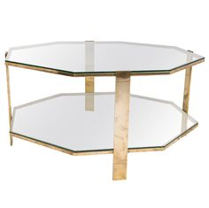 Octogonal Two Deck Brass Coffee Table By Broncz