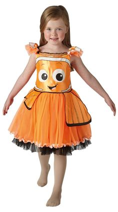 """Orange and black Tutu Dress with black tulle underlay and character face print. Time to start swimming! With the release of Disney's movie """"Finding Dory"""", become the loveable orange and black striped fish, Nemo and join with your friends Dory and Marlin as you take on new and exciting adventures beneath the ocean.   eBay!"""