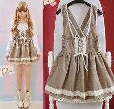 Kawaii Lasbian Dress Lolita Academy Ball Gown Cute Suspender Skirt Uniform Set