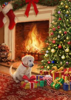 Leading Illustration & Publishing Agency based in London, New York & Marbella. Christmas Scenery, Christmas Pictures, Christmas Themes, Christmas Crafts, Christmas Decorations, Christmas Costumes, Christmas Puppy, Winter Christmas, Vintage Christmas