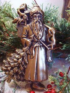 Bronze Santa Claus Blackened Beeswax Christmas Ornament Primitive Black Wax | eBay