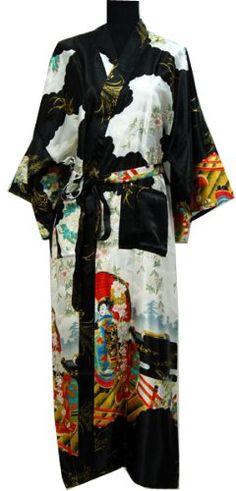 3d378bcee8e2 Shanghai Tongue® Geisha Kimono Bath Robe Night Gown Black One Size  Amazon. co.uk  Kitchen   Home