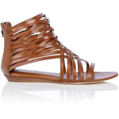 Ash Brown Medi Flat Caged Sandal, found on #polyvore. #shoes #sandals #zapatos #women