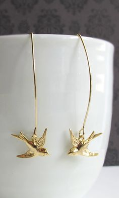 Swallow Birds Long Dangle Earrings