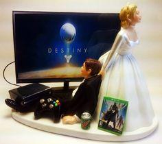Funny Destiny Xbox One Gamer Wedding Cake Topper Bride and groom