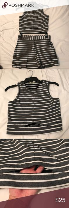 Gianni Bini Two Piece Outfit Gianni Bini XS crop top with cut out and matching shorts. The item is black and white but looks grey due to the small nature of the stripes. Gianni Bini Other