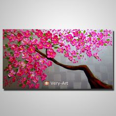 hand painted red blossom flower knife pallete picture  canvas flower tree zen oil painting wall art D308
