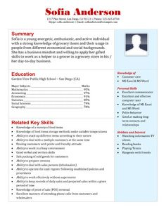 grocery store resume