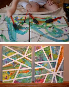 Use painters tape on a canvas and let your little one paint away...pull off tape and bam! Beautiful cherish-able artwork <3