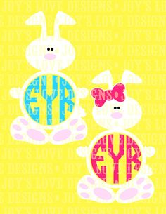 Bunny Monogram Frames (Boy and Girl) SVG and DXF Digital Download Ideal for use with craft cutting machines. Note that if you are using a